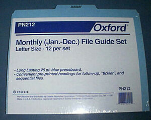 OXFORD PN212 Monthly (January to December) File Guide Set Letter size BRAND NEW!