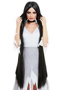Smiffys 52069 Witch/Hippie Wig Extra Long, Women, Black 120cm Long
