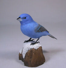 Indigo Bunting Backyard Bird Wood Carving/Birdhug