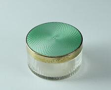 Gold Gilt Sterling Silver & Guilloche Enamel Cut crystal Jar 1949 London English