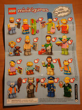 The Simpsons MINIFIGURE Series INSTRUCTION CHECKLIST Mini-Insert Poster Only