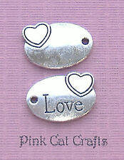 10 x LOVE & HEART OVAL TAG Tibetan Silver 3D Charms Pendants Beads