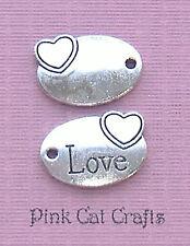 10 x LOVE & HEART OVAL TAG Tibetan Silver 3D Charms Pendants Beads