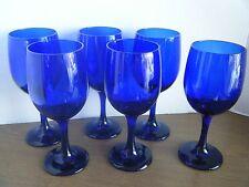 "Set of 6 Cobalt Blue Glass 7"" 8 ounce Water Glass Stemware - Libbey"