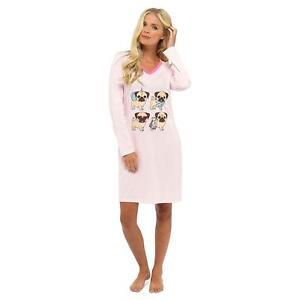 NEW Ladies 100% Cotton 'Foxbury' Pug Print Nightdress/Loungewear