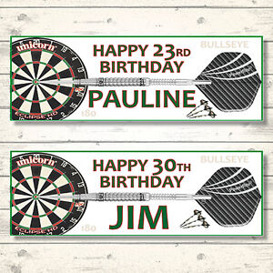 2 PERSONALISED DARTS BIRTHDAY BANNERS - ANY NAME - ANY AGE