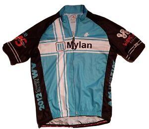 Hincapie Cycling Blue and White Jersey Mylan Print  MENS Sz L
