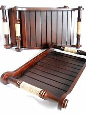 Solid Wood Tea Tray Square with Bamboo Handles Dark Brown 35 cm x 20 cm