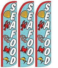 Seafood Blue Windless Standard Size Swooper Flag Sign Banner Pk of 3