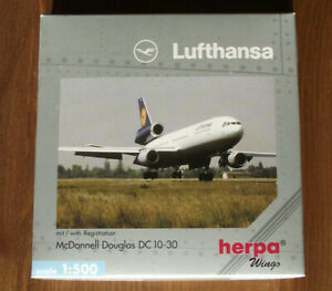 "HERPA 516204 1:500: McDonell Douglas DC10-30 "" LUFTHANSA "" OVP"