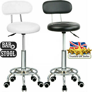 Swivel Desk Chair Stool Height Adjustable 5 Wheels Stool Office Black/White