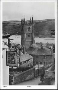 Fowey, Cornwall - Church, Safe Harbour pub - Overland Views RP postcard c.1950s