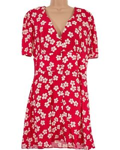 BNWT NOBODY'S CHILD pinky red floral print button through tea dress size 12