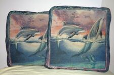 Pair (2) Multicolor Dolphins Nautical Pictorial Tapestry Square Throw Pillows Cu