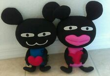 MONZA Plush Set of 2 RARE!  Hearts Love Boy & Girl Great condition!