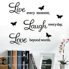 Live Laugh Love Mural Citation Papillon Stickers Accueil Art Decal amovible vinyle