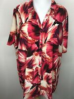 Women's Catherines 2X Pink Floral Short Sleeve Top Blouse Plus Size