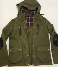Topshop UK 10 Jacket Coat Parka Khaki Tartan Hooded Brass Buttons Elbow Patches