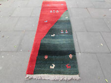 Old Tribal Hand Made Persian Oriental Gabbeh Wool Green Red Runner 270x83cm