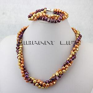 "20"" 8"" 6-8mm MultiColor Baroque 3Row Freshwater Pearl Necklace Bracelet A—BUNDLE"