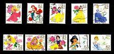 [Japan] Disney Snow White Cinderella Mermaid stamps ~ total 10 pic/set Postmark
