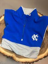 Men's Antigua 1/4 Zip Long Sleeve pullover Royal Blue/Grey Kc Medium