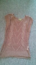 Woven patterned Tan Brown Shirt Top Size 8 NEW