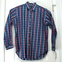 Large (L) NEIMAN MARCUS Red Blue Green Checkered Button Up Long Sleeve Shirt
