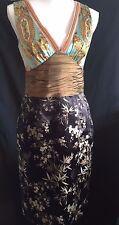 Phoebe Couture Asian Print Silk Empire Waist Sleeveless V Neck Dress Size 6