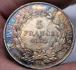 "1852-A France 5 Francs Silver  Napoleon ""BARRE"" VERY HIGH GRADE RAINBOW TONING"