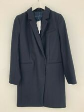 FRENCH CONNECTION NAVY IMPERIAL WOOL CLASSIC SINGLE BREAST COAT