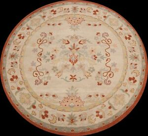 Floral Traditional Oriental Area Rug Hand-Tufted Wool Ivory Carpet 8x8 ft ROUND