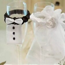 Cup Decor 2PCS Toasting Glass Supply Accessory Bride Groom Bridal Veil Wedding