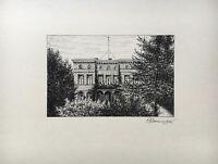 Federzeic hnung 1932 Gutshaus Großes Haus mit Vorgarten signiert 23,5 x 31 cm