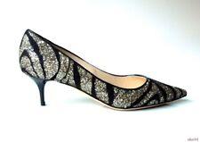 new $750 JIMMY CHOO 'Aza' black GLITTER pointy toe shoes 38 8 - classic