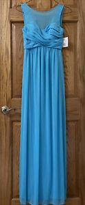 Davids Bridal Blue Bridesmaid, Formal, Prom Chiffon Long Gown Size 2