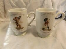 Set of 2 Holly Hobbie Porcelain Mugs 1974 - Boy w/Flag & Paper Boy
