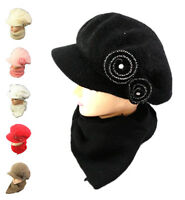Women Ladies Knitted Woollen Wooly Beanie Hat and Scarf Set Warm Flower Diamond