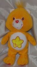 "Rare 2002 CARE BEARS Plush 9"" Orange LAUGH A LOT BEAR w/Giggle Star Belly Badge"