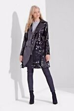 New In! Womens High Shine Black Double Breasted Trench Coat Sizes 8 10 12 14 16