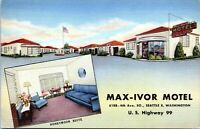 Seattle Washington Postcard Max Ivor Motel Hwy 99 Roadside 1940s Linen
