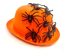 Adults Halloween Fancy Dress Bowler Hat Spider Infested Orange & Black