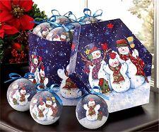 Set of 12 Ornaments & Box ** WINTERY NIGHT SNOWMAN ORNAMENT BOX SET * NIB