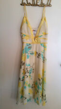 ALIVE GIRL Plunge Neck Yellow Blue Floral Dress!