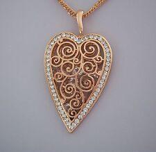 Kette 80-85 cm + Anhänger Herz Ornament mit Kristallen - Farbe Rosegold - NEU