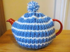 Hand knitted tea cosy, small fits two cup teapot, sky blue/white