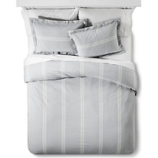 Linen Stripe Duvet and Sham Set Twin Charcoal Grey - The Industrial Shop