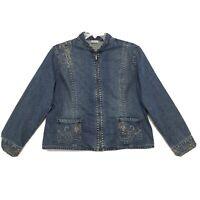 Chico's Sz 3 Zip Up Mandarin Collar Denim Jacket Womens XL Embellished Faded