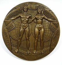 BRONZE MEDAL / O.N.U. HUMAN RIGHTS / NUDE / RIGHT TO LIFE, LIBERTY AND SECURITY