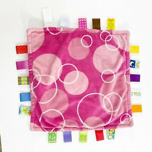 """Taggies PINK WITH WHITE CIRCLES Plush LOVEY SECURITY BLANKET Baby Toy BINKY 12"""""""